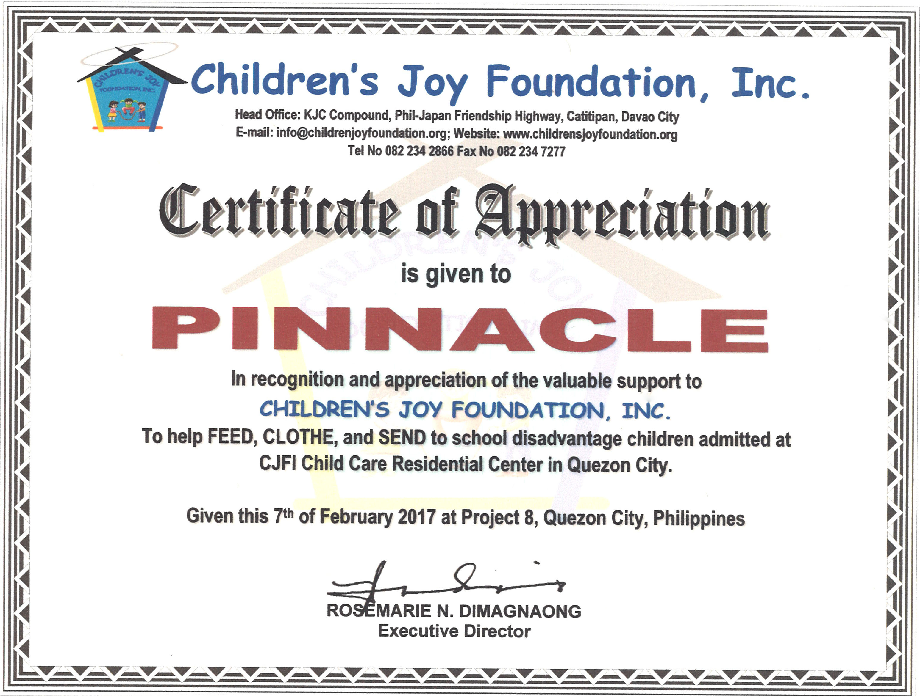 Certificate of appreciation from childrens joy foundation a certificate of appreciation is given to pinnacle in recognition and appreciation of the valuable support to childrens joy foundation inc yelopaper Gallery