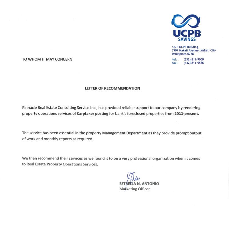 A letter of recommendation from ucpb savings bank spiritdancerdesigns Image collections