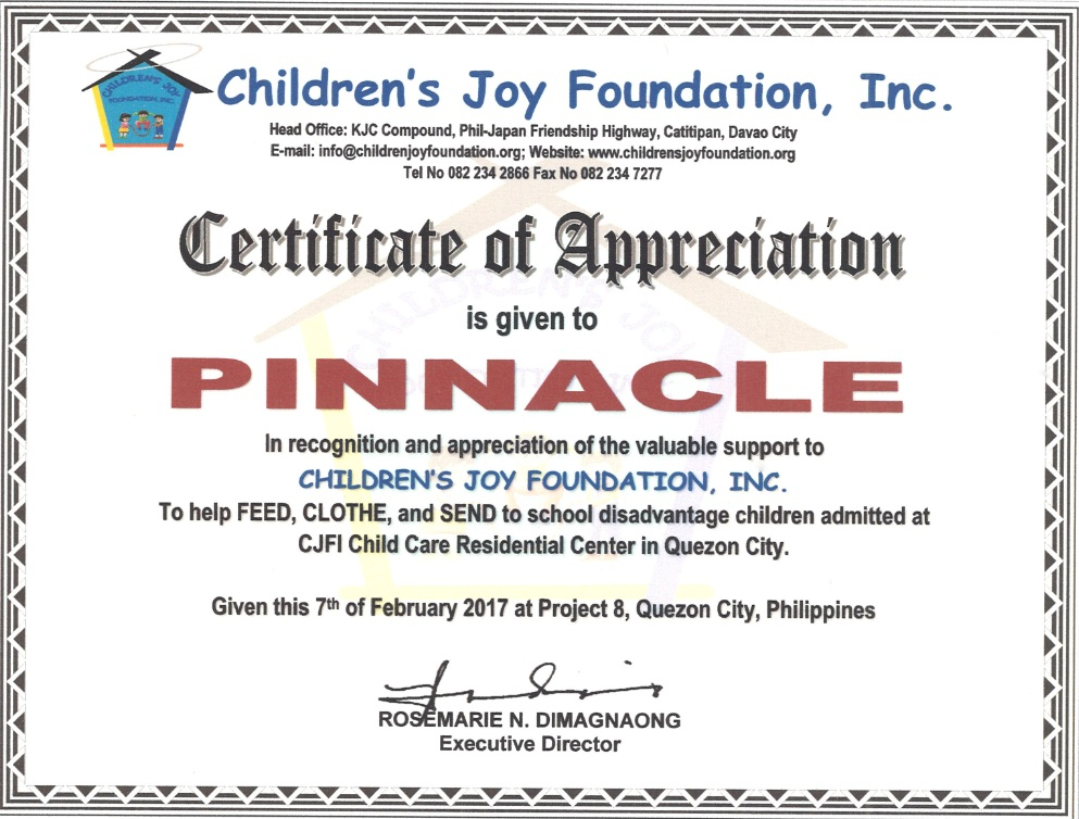 Certificate of Appreciation from Children's Joy Foundation
