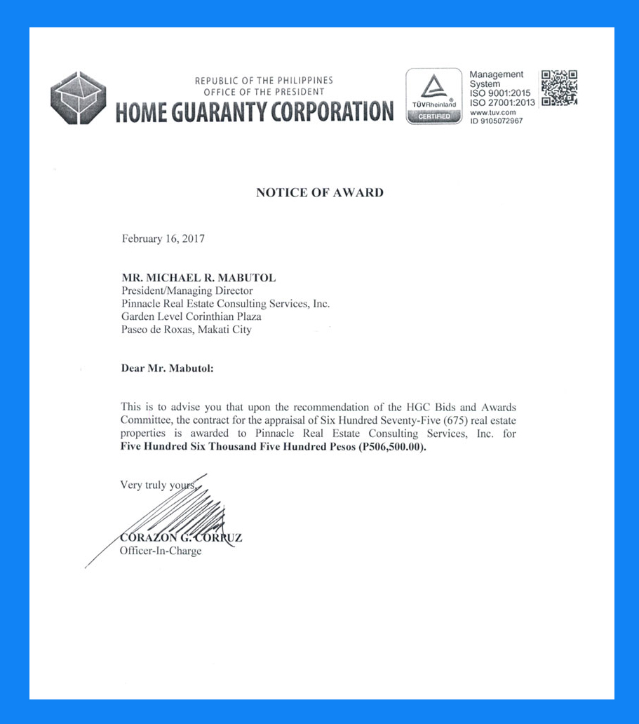 Notice of Award from Home Guaranty Corporation